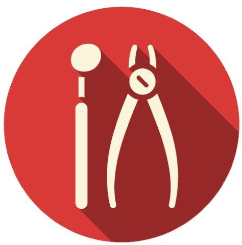 two dentistry instruments icon
